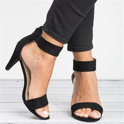 Womens Mid Low Heel Sandals Ankle Strap Work Smart Summer Party Shoes Sizes 9-10