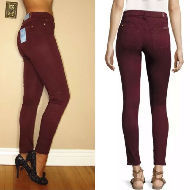 47a24138b New $179 7 For All Mankind Bair Skinny Dark Red High Waist Womens Jeans 24-