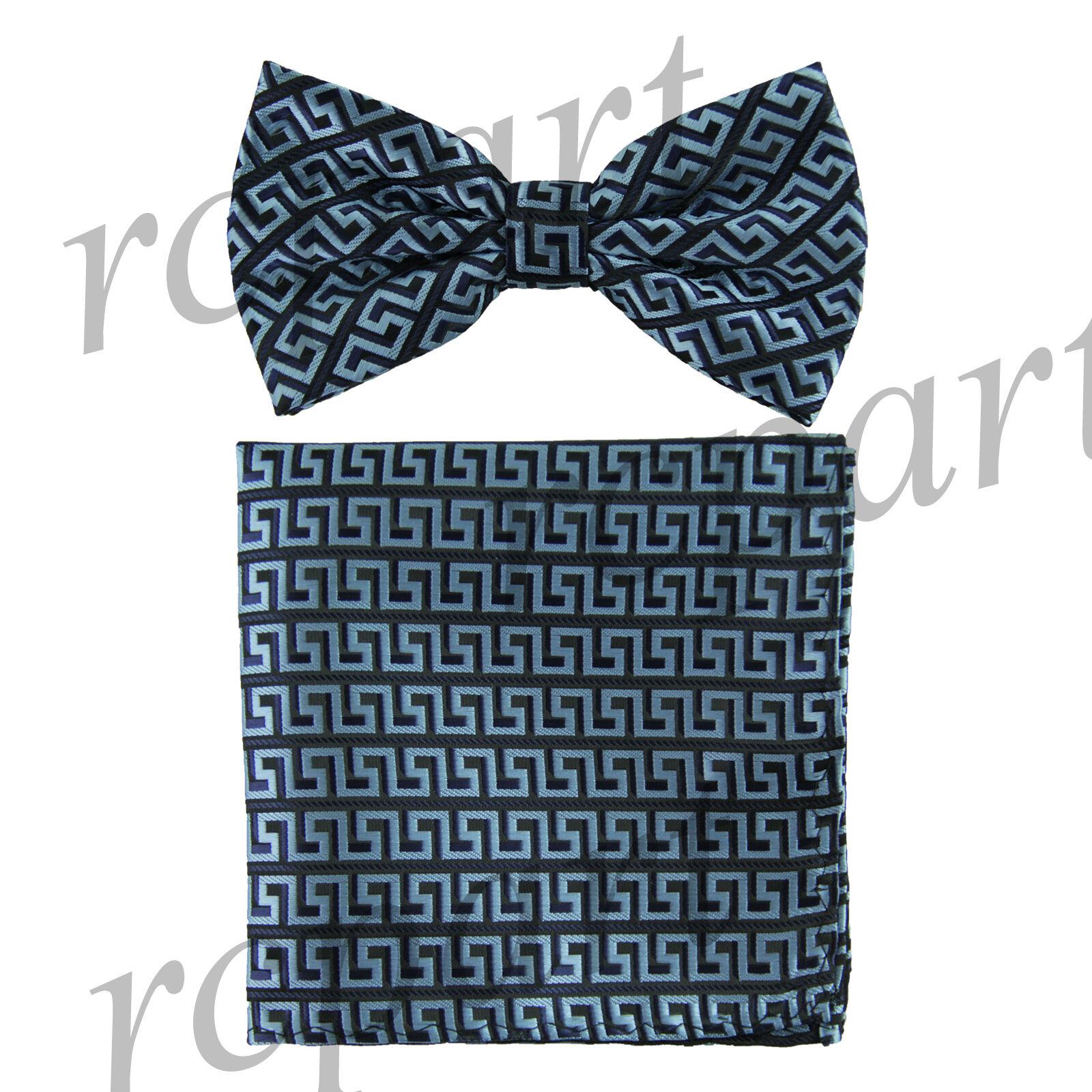 Men's Pre-tied Bow Tie & hankie set patterned black blue wedding party prom