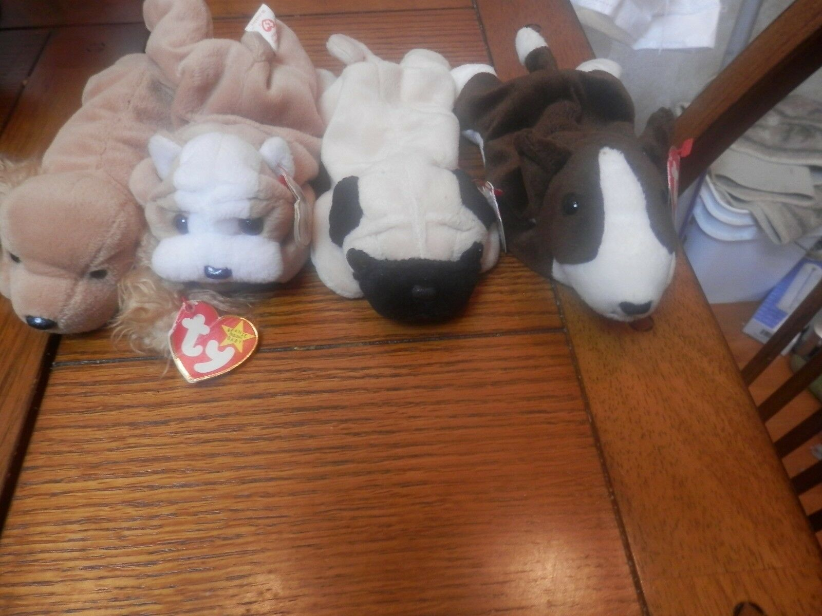 Ty  Collection. Beanie  Baby Puppies    Wrinkles 1996,Bruno 1997, Pugsly 1996, Spu 7b35d2