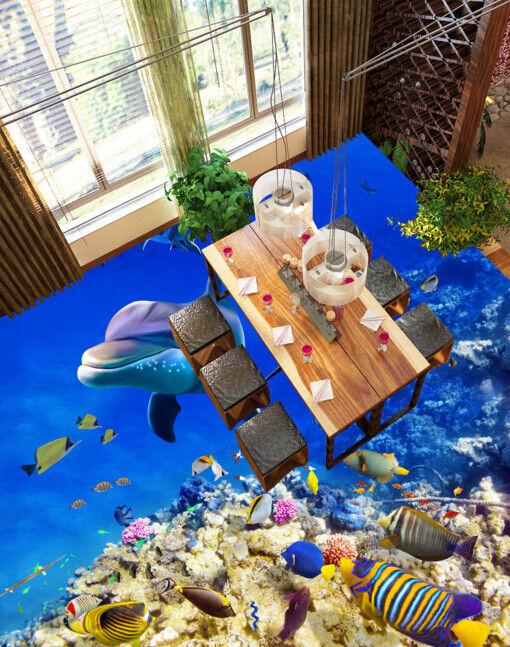 3D Tropical Fish Dolphin 78 Floor WallPaper Murals Wall Print Decal AJ WALLPAPER