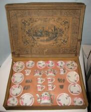Old 1890s German Bisque Miniature Tea Set in Box Floral & Ribbons - Germany