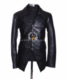 32b674fc4a662 Lucifer Black Men s Smart Gothic Style Real Lambskin Leather Blazer ...