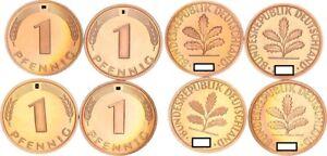 1 Pfennig 1986 D,f,g,J 4 Münzen komplett Polierte Platte 56379