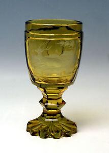 BIEDERMEIER-JAGD-BECHER-GLAS-HIRSCH-MOTIV-HUNTER-039-S-BEAKER-BOHMEN-BOHEMIA-UM-1830