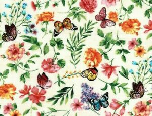 FAT-QUARTER-FABRIC-FLOWERS-BUTTERFLIES-PACKED-FLORAL-SPRING-GARDEN-BUTTERFLY-FQ
