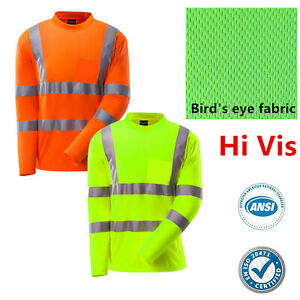 Hi-Vis-ANSI-Class-3-Reflective-Safety-Work-Long-Sleeve-T-Shirts-High-Visibility