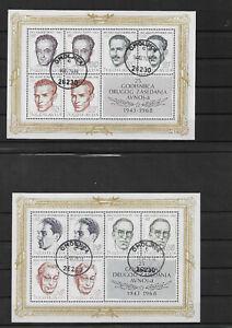 JUGOSLAWIEN-1968-Nationalhelden-2-Blocks-gestempelt