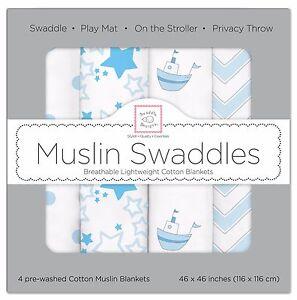 NIB SwaddleDesigns Muslin Swaddle Blanket-4pk Little Ships Fun - Free Shipping!