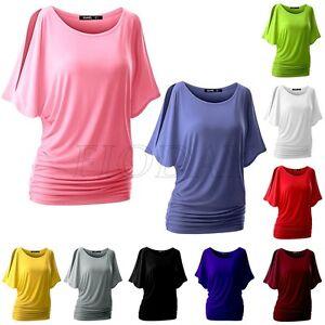 Women-Short-Batwing-Sleeve-T-Shirt-Loose-Casual-Tops-Ladies-Blouse-Shirts-Tee