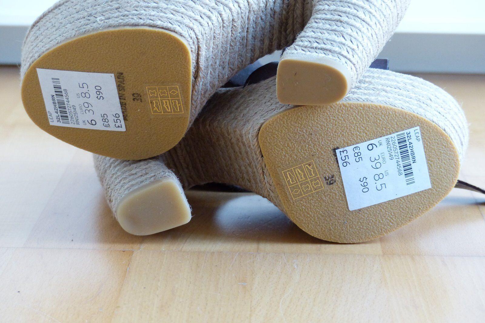 Topshop Sandaletten Sandales Bast Leder braun UK Gr. 39 UK braun 6 87824f