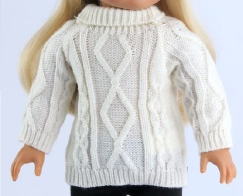 """Irish White Cable Sweater for American Girl 18/"""" Doll Clothes  TRULY US SELLER!"""