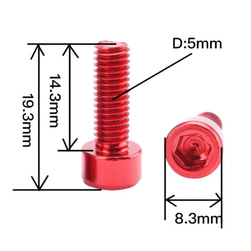 4Pcs Aluminum Bike Water Bottle Cage Bolts Holder Hex Socket Screws Red
