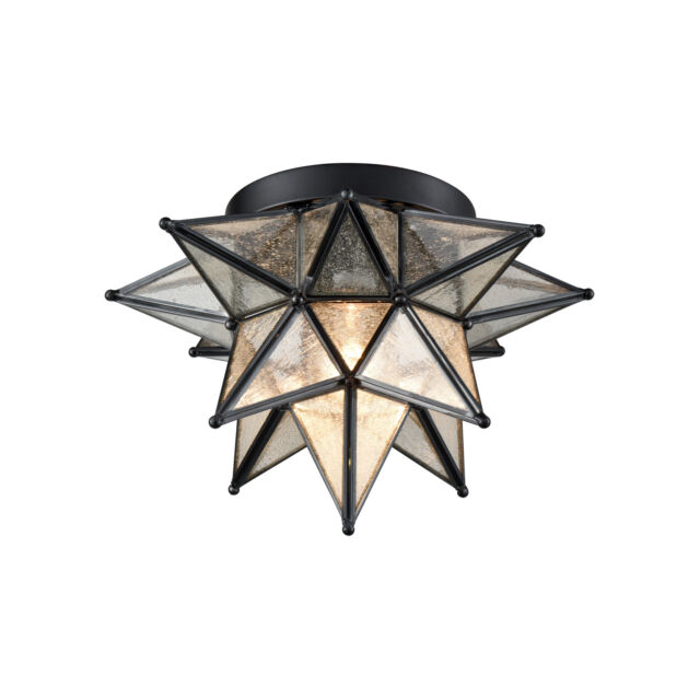 Moravian Star Ceiling Light Black Copper Glass Flush Mount 12 Inch Foyer Light