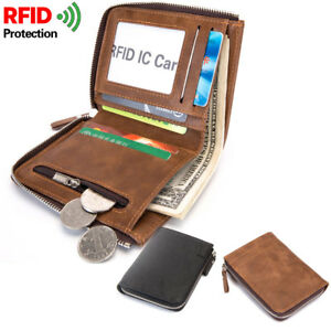 FQB08 Portafoglio Uomo Cuoio PU RFID Porta Carte di Credito Taschino Zip Monete