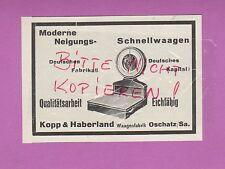 OSCHATZ, Werbung 1932, Kopp & Haberland Schnell-Waagen-Fabrik