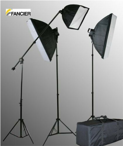 Fancierstudio 2800 Watt Lighting Kit With Boom Arm Hairlight Softbox Lighti