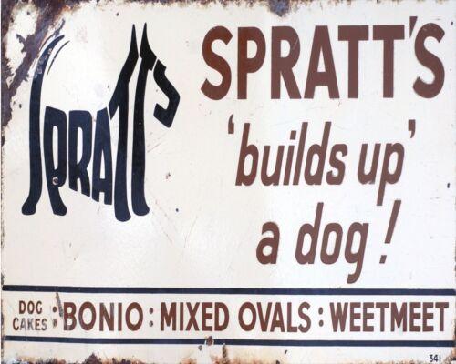 Spratt/'s Build Up A Dog Advertising Enamel Metal Tin Sign Wall Plaque
