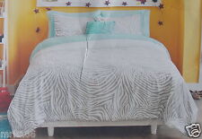Xhilaration 8 Pc Full Comforter Sham Sheets Bed Set ~ NEW Mint Green White Gray