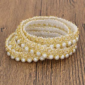 1m-Perlenbesetzt-Spitzenband-Dame-Kleidung-Tasche-Deko-DIY-Naehen-Basteln-Gold