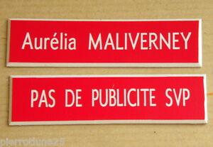 1 Plaque De Boite Aux Lettres Personnalisée 1 Ligne + 1 Stop Pub Ft 15 X 60 Mm B3fvgffy-10044144-661073132