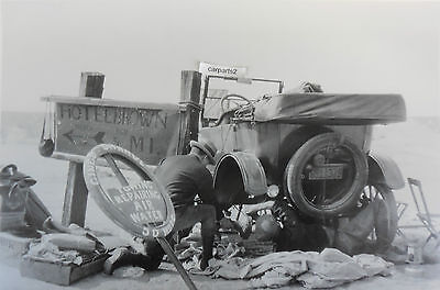 "12 By 18"" Black & White Picture 1925 Ford Model T Touring repairing on highway"