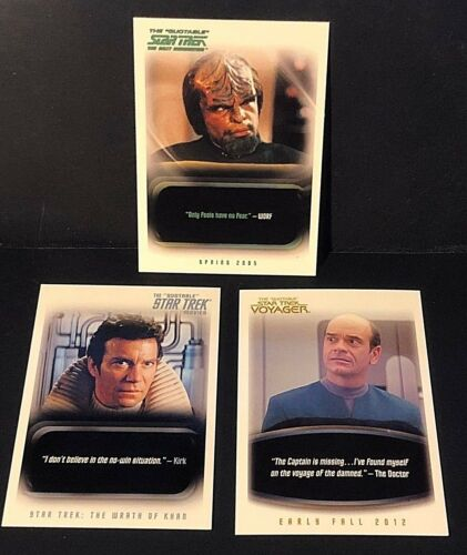 The Quotable STAR TREK Rittenhouse LOT of 3 PROMO Cards 2005 2010 2012 #P2