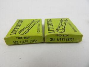 Lot-of-10-Littelfuse-3AG-1-4-PT-315-125V-1-4-Amp-Slow-Blow-Fuses-Vintage