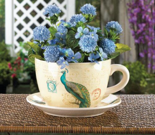 "8/"" teal PEACOCK feather Flower big TEACUP tea party garden Planter Pot ceramic"
