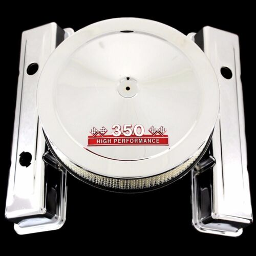 Chrome 3 Hole Short Valve Covers /& Red 350 Emblem Air Cleaner For Chevy 350 SBC