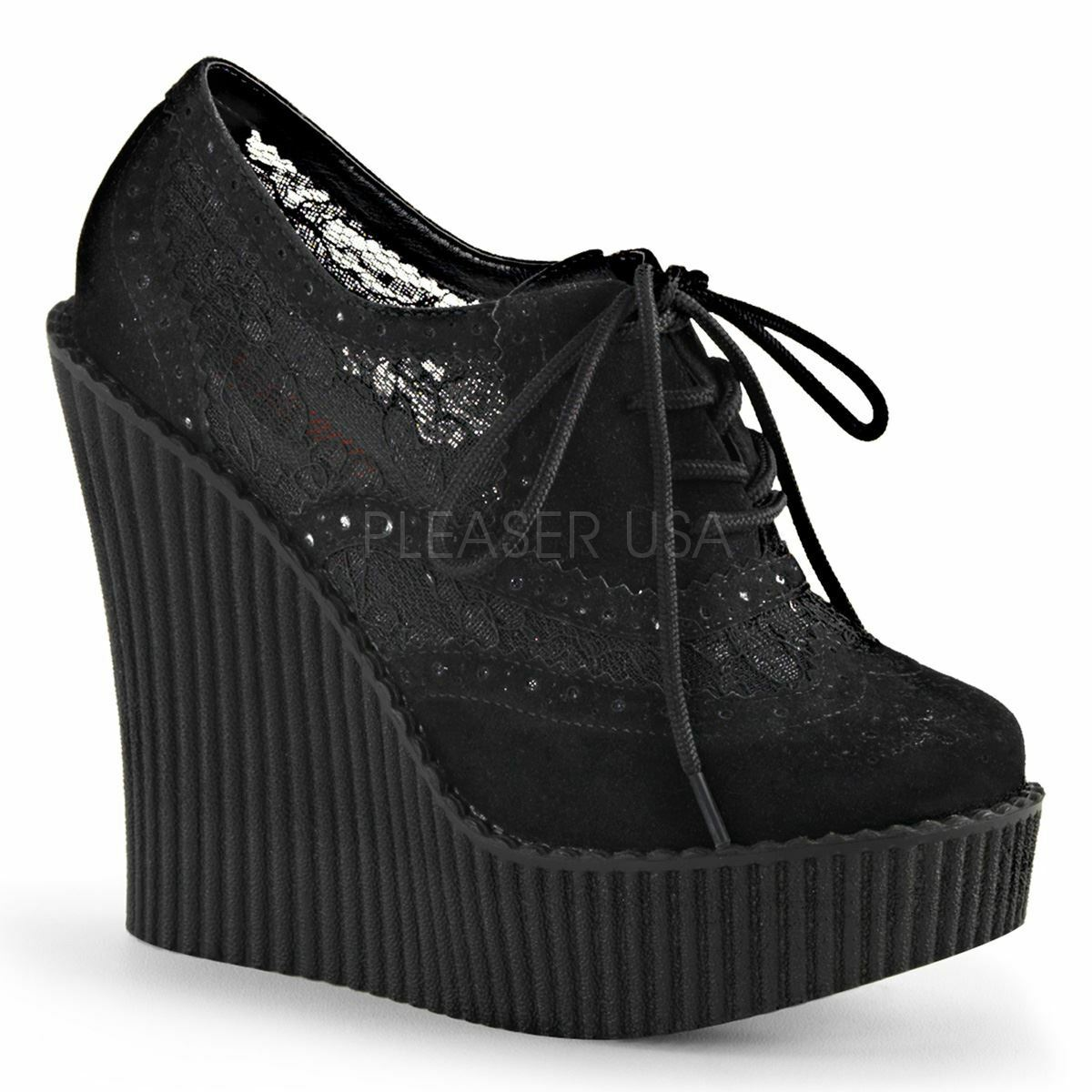Demonia Wedge Platform Lace Up Brogue Creeper With Wingtip & Lace Black