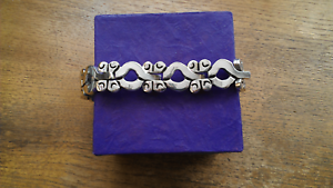 Taxco-Mexico-Sterling-Silver-Link-Panels-Bracelet-74-Grams