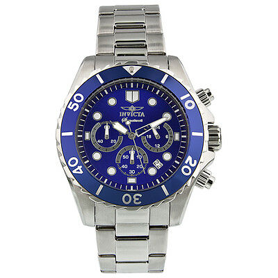 Invicta Signature II Chronograph Blue Dial Stianless Steel Mens Watch 7367