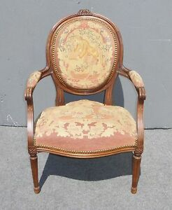 Vintage-French-Louis-Style-Floral-Design-Carved-Wood-Tapestry-Accent-Chair