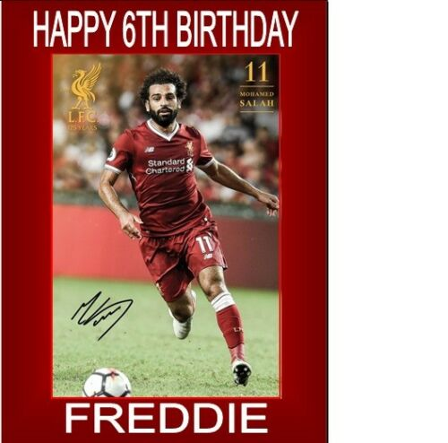 """PERSONALISED MOHAMED SALAH CAKE TOPPER A4 ICING SHEET 10/""""X8/"""" ANY AGE NAME"""