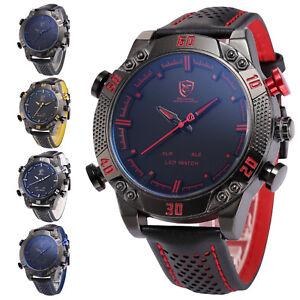 Shark-Men-039-s-Leather-LED-Digital-Date-Day-Analog-Quartz-Sport-Army-Wrist-Watch