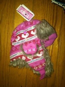 99980982313 NWT LITTLE GIRLS PRETTY PINK SPARKLY TRAPPER HAT WITH FAUX FUR 12-24 ...