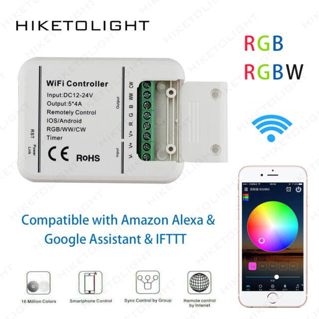 DC12-24V 20A RGB/WW/CW LED WIFI Controller IOS Phone APP Timer Alexa Google  Home