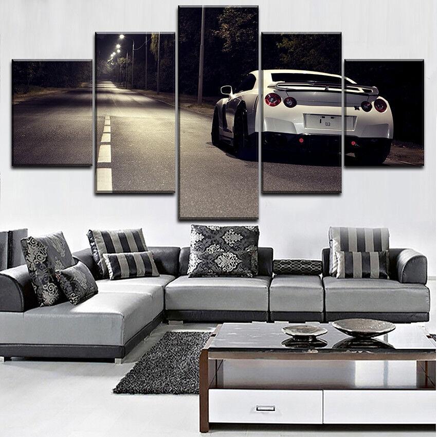 Weiß Nissan Gtr Car Landscape 5 Panel Canvas Print Wall Art Street