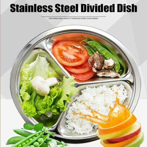 Stainless Steel 3 Sections Round Divided Dish Snack Dinner Student Kid
