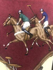 Vintage-Polo-By-Ralph-Lauren-Necktie-Horse-Burgundy-Beige-Cream-Brown-Tie-GUC
