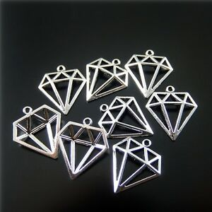 Silver-Tone-Alloy-Hollow-Diamond-Shaped-Pendant-Charms-Jewelry-Findings-50pcs