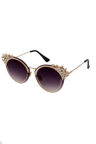 New Embellished Leaves Diamante Retro Round Cat Eye Sunglasses Ladies Womens Lot