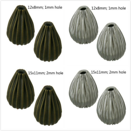 12pc teardrop shape corrugated metal beads Pls pick the size and color