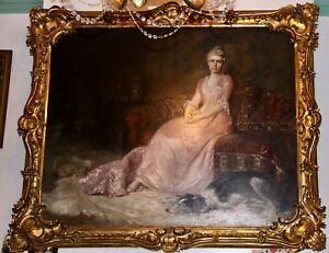 A Big Beautiful ''josef Schretter'' Painting Of A Woman Oil On Canvas Decorative Arts Other Antique Decorative Arts
