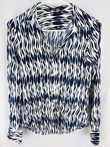 9c59d3d3c64756 THEORY Silk Button Front Blouse Womens SMALL Navy Blue White Shirt ...