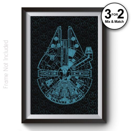 Millennium Falcon Wall Art Print Star Wars Movie Poster on 100/% Cotton Paper