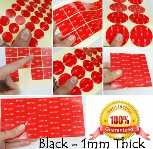 BLACK 1mm thick ~ 3M VHB™ Sticky SELF ADHESIVE PADS for Dash Cams STRONG ~ 5952