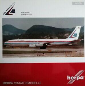 Herpa-Wings-1-200-Air-Berlin-USA-707-320-Metallmodell-mit-standfuss-23cm-559911