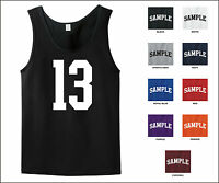 Number 13 Thirteen Sports Number Jersey Tank Top Front Print